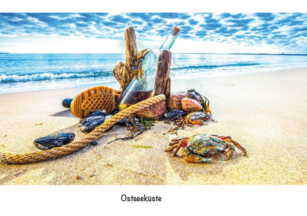 Ansichtskarte, Postkarte Ostseeküste, Rumkrabbeln aus der Serie Strandgut