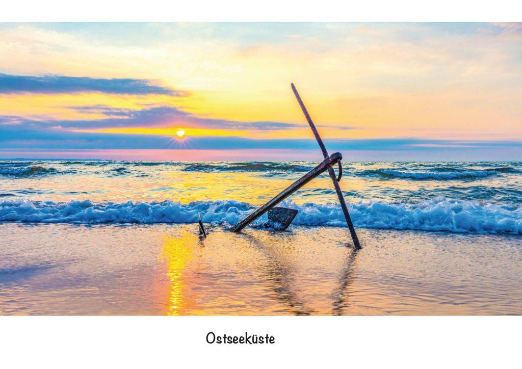 Ansichtskarte, Postkarte Ostseeküste. Anker in der Ostsee im Sonnenaufgang