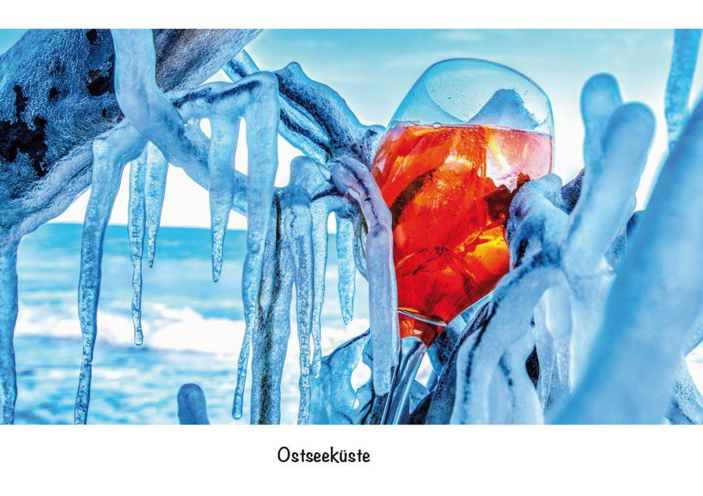 Ansichtskarte Ostseeküste, Strandgut Eiskalt
