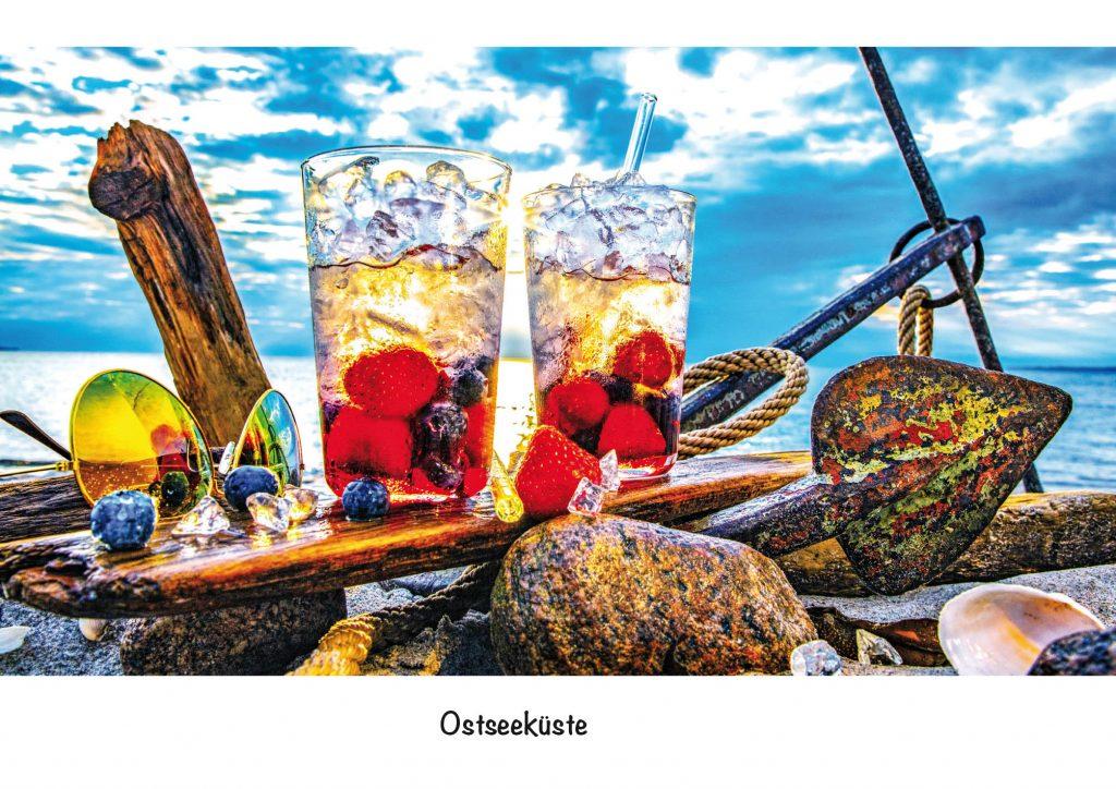 Ansichtskarte Ostseeküste, Strandgut Seebeeren
