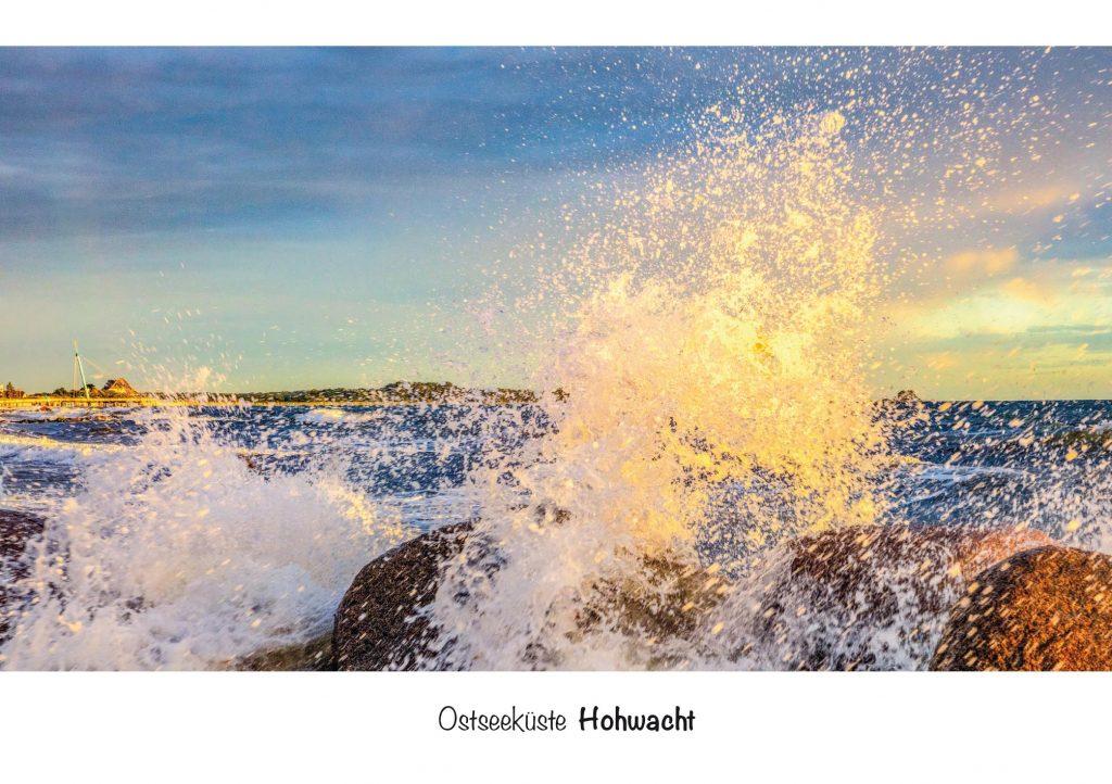Ansichtskarte Hohwacht in Schleswig-Holstein, Ostseeküsten, Wellengang im Meer